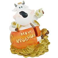 Копилка Денежная Корова. 19220D19220Забавная копилка Денежная корова станет оригинальным украшением интерьера и вызовет улыбку у каждого, кто ее увидит. Копилка выполнена в виде симпатичной коровы, сидящей на россыпи золотых монет. Копилка украшена блестками. Деньги вынимаются путем открывания пластикового клапана, расположенного на дне копилки. Копилка - это оригинальный и нужный подарок на все случаи жизни. Характеристики:Материал:полистоун.Размер копилки:7 см х 8 см х 6,5 см.Производитель:Китай.Артикул:19220D.