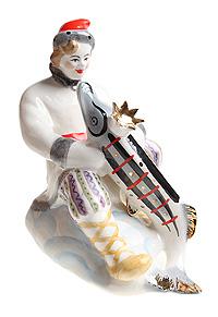 Статуэтка Емеля со щукой. Фарфор, роспись, золочение. СССР, ЛЗФИ, 1950 - 60-е гг.