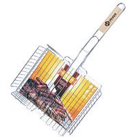 Решетка-гриль Искра для курицы, глубокая, 31 х 25 смRDG-46Решетка Искра предназначена для приготовления курицы на углях. Изготовлена из высококачественной стали с пищевым никелированным покрытием. Идеально подходит для мангалов и барбекю.Решетка имеет широкое фиксирующее кольцо на ручке, что обеспечивает надежную фиксацию. Специальная деревянная ручка предохраняет руки от ожогов, а также удобна для обхвата двумя руками, что позволяет легко переворачивать решетку. Характеристики:Материал:сталь. Размер решетки:31 см x 25 см. Высота решетки:5 см. Длина ручки: 34 см. Производитель:Россия. Изготовитель: Китай. Артикул:RDG-46.