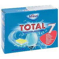 Чистящее средство для посудомоечной машины Minel Total, в таблетках, 800 г803773Чистящее средство Minel Total предназначено для мытья посуды в посудомоечных машинах.Особенности Minel Total: Мгновенно расщепляет масло и жир. Защищает от известкового налета и образования накипи. Действует в холодной воде, дезинфицирует. Специальные вещества предотвращают образование разводов и подтеков. Полностью удаляет остатки моющих средств. Позволяет машине работать эффективно и экономично, продлевая срок ее службы. Характеристики: Вес: 800 г. Количество таблеток: 40 шт х 20 г. Производитель: Германия. Товар сертифицирован.