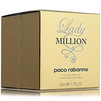 Paco Rabanne Lady Million. Парфюмированная вода, 50 мл3349668508488Смелая и решительная девушка Lady MILLION всегда непредсказуема. Она свободна и выступает наравне с мужчинами, но при этом, остается женственной. «Хичкоковская» ультрасовременная женщина в сочетании с голливудским гламуром 50-х годов демонстрирует свой уникальный стиль. Туалетная вода Lady MILLION от Paco Rabanne представляет собой свежий цветочный аромат с древесным оттенком. Пьянящие ноты нероли и ландыша конкурируют друг с другом в чувственности и свежести. В сердце аромата - невероятно женственные ноты гардении и гиацинта. Но главный, самый обольстительный аккорд, раскрывается в сочетании сладкого мёда с чувственными нотами пачули. Яркие амбровые ноты кружатся и меняются при каждом движении воздуха, раскрывая самые разные аспекты аромата, подобно игре луча света на бриллианте.Верхняя нота: Горький апельсин, нероли.Средняя нота: Абсолю флердоранжа.Шлейф: жасмин самбак.Малина и пачули - для роскошной жизни.