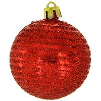 Набор новогодних шаров Спираль, цвет: красный, 6 шт набор однотонных пластиковых шаров 10 см 1глянцевый 1 матовый золотой