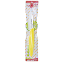 Нож для чистки овощей Hatamoto, 7 см, цвет: желтыйHC070W-YELНож для чистки овощей Hatamoto изготовленный из керамики, превосходно подойдет для чистки и нарезки овощей. Ручка ножа имеет элегантный, современный и яркий вид, который подойдет к интерьеру любой кухни. Такой нож займет достойное место среди аксессуаров на вашей кухне. Основные характеристики ножа Hatamoto:- при правильном использование не нуждается в заточке- не царапается в процессе резки- не боится моющих средств- весит меньше металлических ножей- не окисляется- на ноже не остается грязных пятен- не ржавеет.Дополнительные преимущества керамических ножей Hatamoto:- колоссальная острота и износостойкость режущей кромки, в духе и лучших традициях японских мастеров- не требуют заточки в течение 4-5 лет, потому что циркониевая керамика уступает по твердости только алмазу- не оставляют послевкусия, потому что не вступают в реакцию ни с какими продуктами- не подвергаются ржавлению и не имеют трудноудаляемых грязных пятен- рукоять из пластика, покрытого термостойким каучуком, предотвращает выскальзывание ножа- рекомендованы для приготовления пищи маленьким детям, беременным женщинам, аллергикам, а также в дошкольных и лечебно-профилактических учреждениях.Характеристики: Материал: керамика, пластик. Длина лезвия: 7 см. Длина общая: 18,5 см. Артикул: 70W-A2 Yellow.Изготовлено по заказу компании Hatamoto Co., Ltd, Япония.Ножи Hatamoto, изготовленные из керамики, представляют собой великолепные профессиональные инструменты, отличающиеся повышенной износостойкостью, значительно превышающей износостойкость стали. На лезвиях этих ножей в процессе эксплуатации не образуются царапины. Удобная рукоять, выполненная из резинопласта, обеспечивает четкую фиксацию ножа Hatamoto в ладони. А его небольшой вес поможет Вам сохранить силы, получая от процесса работы на кухне только положительные эмоции! Правила использования и уход за кухонными керамическими ножами: - Перед использованием в первый раз ополосните ножи горячей водой