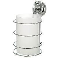 Стакан для ванной комнаты EverLoc с держателем. 1020910209Удобный стаканчик EverLoc предназначен для хранения различных предметов для гигиенических процедур. Стакан выполнен из пластика. Он устанавливается в специальный держатель из хромированной стали, который крепится к поверхности стены с помощью присоски.Такой стаканчик отлично подойдет к интерьеру вашей ванной комнаты.Характеристики: Материал: пластик, хромированная сталь. Высота стакана: 12 см. Диаметр по верхнему краю:8 см. Размер держателя:15 см х 9 см х 10 см. Размер упаковки: 12,5 см х 10 см х 16 см. Производитель: Швейцария.Артикул: 10209.
