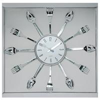"""Настенные кварцевые часы """"Ложки и вилки"""" - это не только функциональное устройство, но и своим дизайном подчеркнут оригинальность интерьера вашей кухни. Часы декорированы по кругу ложками и вилками. Часы имеют две стрелки - часовую, минутную, которые выполнены в виде ножа и вилки. Циферблат защищен стеклом. Часы легко можно подвесить в удобном для вас месте.  Кроме того, такие настенные часы могут стать отличным подарком для ценителя ярких и качественных вещей. Характеристики:  Материал: стекло, пластик. Размер часов: 36 см х 36 см х 3 см. Диаметр циферблата:  13 см. Размер упаковки: 42 см х 4 см х 39 см. Изготовитель: Китай. Артикул: 91198.   Работают от батарейки 1,5V типа АА (не входит в комплект)."""