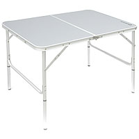 Стол складной KingCamp, 100 см х 70 см. КС381581-455_синий, белыйСтол складной KingCamp, регулируемый по высоте - это незаменимый предмет походной мебели, очень удобен в эксплуатации. Каркас складного стола выполнен из алюминия, а столешница из ДПК. Стол легко собирается и разбирается и не занимает много места, поэтому подходит для транспортировки и хранения дома. Складывается в виде чемоданчика. Складной стол прекрасно подойдет для комфортного отдыха на даче или в походе. Характеристики: Размер стола: 100 см х 70 см х 44 (68) см. Материал стола: алюминий, древесно-полимерный композит. Вес: 5 кг. Размер упаковки: 72 см х 54 см х 7 см. Артикул: KC 3815. Производитель: Китай.
