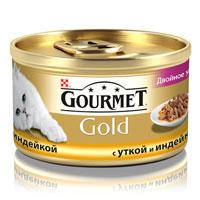 Консервы для кошек Gourmet Gold, с уткой и индейкой, 85 г12032394Корм Gourmet Gold консервированный полнорационный для взрослых кошек, с уткой и индейкой.Рекомендации по кормлению: Для взрослой кошки среднего веса требуется 4 баночки корма Gourmet Gold в день. Кормление необходимо разделить минимум на два приема. Индивидуальные потребности животного могут отличаться, поэтому норма кормления должна быть скорректирована для поддержания оптимального веса вашей кошки. Для беременных и кормящих кошек - кормление без ограничений. Подавать корм комнатной температуры.Следите, чтобы у вашей кошки всегда была чистая, свежая питьевая вода.Условия хранения: Закрытую банку хранить в сухом прохладном месте. После открытия продукт хранить максимум 24 часа. Ингредиенты: мясо и субпродукты животного происхождения (утка 4%, индейка 4%), экстракт растительных белков и субпродукты рыбного происхождения, зерновые, минеральные вещества, различные сахара, красители и консерванты, витамины. Состав: влажность (82%), белок (8,3%), жир (5,4%), натуральная зола (2,8%), натуральная клетчатка (0,02%), витамин А (1540 МЕ/кг), витамин Д3 (240 МЕ/кг), железо (10,5 мг/кг), йод (0,3 мг/кг), медь (0,9 мг/кг), марганец (2,1 мг/кг), цинк (10,5 мг/кг), консерванты.Вес: 85 г.Товар сертифицирован.