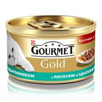 Консервы для кошек Gourmet Gold, с лососем и цыпленком, 85 г12109424Корм Gourmet Gold консервированный полнорационный для взрослых кошек, с лососем и цыпленком.Рекомендации по кормлению: Для взрослой кошки среднего веса требуется 4 баночки корма Gourmet Gold в день. Кормление необходимо разделить минимум на два приема. Индивидуальные потребности животного могут отличаться, поэтому норма кормления должна быть скорректирована для поддержания оптимального веса вашей кошки. Для беременных и кормящих кошек - кормление без ограничений. Подавать корм комнатной температуры.Следите, чтобы у вашей кошки всегда была чистая, свежая питьевая вода.Условия хранения: Закрытую банку хранить в сухом прохладном месте. После открытия продукт хранить максимум 24 часа. Состав: мясо и субпродукты (из которых цыпленка 4%), злаки, рыба и продукты переработки рыбы (лосось 4%), сахара, минеральные вещества, консерванты.Добавленные вещества: МЕ/кг: витамин A: 1290; витамин D3: 200. мг/кг: железо: 9; йод: 0,2; медь: 0,8; марганец: 1,7; цинк: 9. С консервантами.Гарантируемые показатели: влажность 81,5%, белок 7,5%, жир 3,7%, сырая зола 1,3%, сырая клетчатка 0,5%.Вес: 85 г.Товар сертифицирован.