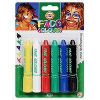 Набор красок для лица Koh-i-Noor (Кохинор), 6 цветов4610Краски для лица помогут создать яркий завершенный образ для детского праздника или карнавала. Краски легко наносятся губкой или кисточкой, легко смываются водой с мылом, не вызывают раздражения кожи. В комплекте 6 ярких цветов: белый, желтый, красный, синий, зеленый, черный Характеристики:Материал:пластик, бумага. Длина тюбика с краской:10 см. Размер упаковки : 20 см х 14 см. 6 тюбиков с красками.