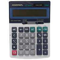 Калькулятор Assistant AC-2340, 12-разрядныйAC-2340Классический настольный калькулятор с большим 12-разрядным дисплеем и чувствительной клавиатурой с большими пластиковыми кнопками. Калькулятор имеет двойную систему питания: от солнечного элемента и от батареи, - что гарантирует ему бесперебойную работу на несколько лет. 12-ти разрядный дисплейВычисление процентовТАХ - функцияОперации с наценками и скидкамиДвойное питаниеПластиковые кнопки Металлическая лицевая панель Чувствительная клавиатураУдаление последнего введенного символа Характеристики: Размер калькулятора: 17 x 12,2 x 3,3 см. Размер дисплея: 10 см х 2,1 см. Цвет: черный. Изготовитель: Китай.