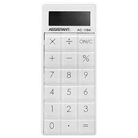Калькулятор Assistant AC-1194, 8-разрядныйAC-1194Стильный карманный калькулятор на магните вы можете удобно разместить на холодильнике или благодаря шнурку, который идет в комплекте, всегда можете его носить с собой. Калькулятор оснащен 8-разрядным дисплеем и износоустойчивыми прозрачными кнопками. 8-разрядный дисплейВычисление процентов Стильный пластиковый корпус Износоустойчивые кнопки Шнурок в комплекте Встроенный магнит Характеристики: Размер калькулятора: 11,2 x 7,2 x 1,9 см. Размер дисплея: 3,2 см х 1,2 см. Материал: пластик, текстиль. Цвет: белый. Изготовитель: Китай. Калькулятор, шнурок.