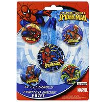 """Набор значков """"Spider-man"""" состоит из пяти значков с изображениями супергероя - Человека-паука. Значки имеют разные диаметры.  Яркий и красочный значок c изображением любимого персонажа - это прекрасный подарок для ребенка. Значок можно прикрепить на рюкзак, кепке или футболке при помощи держателя-булавки. Значок сверху запечатан водонепроницаемой пленкой, поэтому не боится влаги, легок и надежен.   Характеристики:  Материал:  металл, бумага. Диаметр большого значка:   4,5 см. Диаметр среднего значка: 3,5 см. Диаметр малого значка: 3 см. Изготовитель: Китай.  5 значков."""