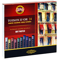 Мелки художественные Toison D'or, 24 цвета 4м фабрика цветных мелков