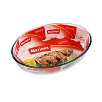 """Овальное блюдо для запекания Marinex """"Classica"""" изготовлено из жаропрочного боросиликатного стекла. Блюдо идеально подходит для использования в духовках, микроволновых печах, холодильных и морозильных камерах, посудомоечных машинах.  Жаропрочное блюдо для запекания """"Marinex"""" станет незаменимым помощником у вас на кухне.  Размер блюда: 26,2 х 18,2 х 6 см."""