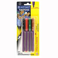 Набор Centropen Tattoo для создания татуировок2880/4Новый безболезненный и несложный способ создания татуировки для детей и молодежи. Набор Centropen Tattoo содержит два самоклеящихся шаблона и 4 разноцветных маркера, наполненных чернилами, прошедших строгое дерматологическое тестирование. Татуировка сохраняет свой цвет до 60 часов, смывается водой с мылом. Цветовой эффект может быть различным в зависимости от типа кожи. Шаблоны могут использоваться повторно. Характеристики: Материал:пластик, бумага. Длина маркера:13,5 см. Диаметр маркера:1 см. Ширина линии:1 мм.4 маркера, 2 шаблона.