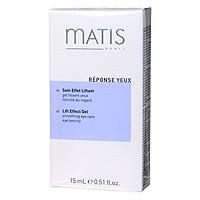 Крем Matis с лифтинг эффектом, для кожи вокруг глаз, 15 мл36556Свежий и лёгкий гель прекрасно увлажняет кожу, снимает напряжение вокруг контура глаз. Помогает скрыть признаки усталости - отеки и темные круги под глазами. Без отдушек. Экстракт личи, Гиалуроновая кислота, Протеины пшеницы.Наносить утром и/или вечером легкими поглаживающими движениями на тщательно очищенную кожу вокруг глаз.