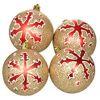 Набор новогодних шаров Снежинки, цвет: золотистый, 4 шт. 0159-11000199-1100Красивый набор новогодних шариков Снежинки выполнен из пластика. Такие шары легки и удобны при оформлении елки. Они не разобьются и более долговечны. В свете новогодних гирлянд игрушка будет таинственно мерцать, и радовать своей красотой. Елочная игрушка - символ Нового года. Она несет в себе волшебство и красоту праздника. Создайте в своем доме атмосферу веселья и радости, украшаявсей семьейновогоднюю елку нарядными игрушками, которые будут из года в год накапливать теплоту воспоминаний. Характеристики:Материал: пластик. Диаметр: 8 см. Количество игрушек: 4 шт. Производитель: Китай. Артикул: 0159-1100.