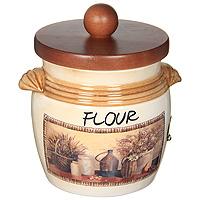 Банка для продуктов LCS Натюрморт Flour 0,75 л LCS670MLFV-ALLCS670MLFV-ALБанка для сыпучих продуктов Натюрморт. Flour изготовлена из высококачественной керамики. Рисунок-натюрморт на бежевом фоне выглядит особенно привлекательно. Крышка выполнена из натурального дерева и снабжена резиновым кольцом-уплотнителем для лучшей фиксации. Характеристики: Материал: керамика. Диаметр банки по верхнему краю (без крышки): 10,7 см. Высота банки (без крышки): 12 см. Высота банки (с крышкой): 16,5 см. Объем банки: 0,75 л. Размер упаковки: 13,5 см х 13,5 см х 19 см. Изготовитель: Италия. Артикул: LCS670MLFV-AL.