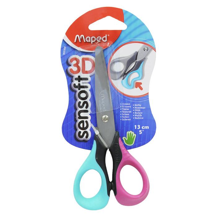 Ножницы Maped Sensoft 3D, 13 см, цвет: розовый, бирюзовый0693008Лезвия ножницы  Sensoft 3D, с безопасными закругленными концами, выполнены из шлифованной нержавеющей стали и отлично режут бумагу, картон, ткань. Улучшенная эргономика колец из мягкого материала обеспечивает максимальный комфорт даже при длительной работе.Характеристики: Длина ножниц: 13 см. Материал: пластик, нержавеющая сталь, резина.Изготовитель: Китай.