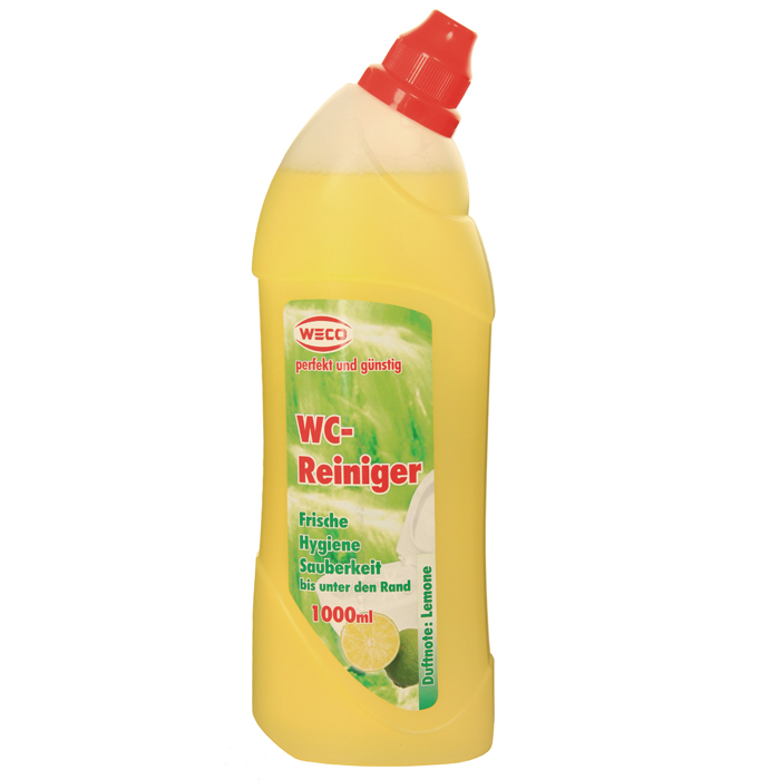 """Гель """"Weco"""" - средство для быстрой и эффективной чистки унитазов. Превосходно, без усилий растворяет грязь, известковые и уриновые отложения, жир и другие устойчивые загрязнения. Гель не оставляет следов и разводов после высыхания, обработанные поверхности приобретают идеальный сияющий блеск. Средство обладает антибактериальным действием и удаляет неприятные запахи, придавая очищаемым поверхностям аромат лимонной свежести. Удобный флакон позволяет использовать средство легко и экономно, даже на вертикальных поверхностях.        Характеристики: Объем: 1 л. Производитель: Германия. Артикул: 60030. Товар сертифицирован.  Как выбрать качественную бытовую химию, безопасную для природы и людей. Статья OZON Гид"""