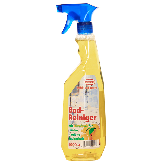 Средство для мытья влагоустойчивых поверхностей Weco, с ароматом лимона, 1 л60032Средство Weco быстро и бережно очищает любые влажные моющиеся и кислотоустойчивые поверхности ( такие как арматура, душ и ванная, половая и стеновая плитка, раковины и умывальники и т.д.) от любых, даже самых устойчивых загрязнений. Не оставляет следов и разводов на очищаемых поверхностях. Сила лимона для идеальной чистоты и свежести!!!Характеристики: Объем: 1 л. Производитель: Германия. Артикул: 60032. Товар сертифицирован.Как выбрать качественную бытовую химию, безопасную для природы и людей. Статья OZON Гид