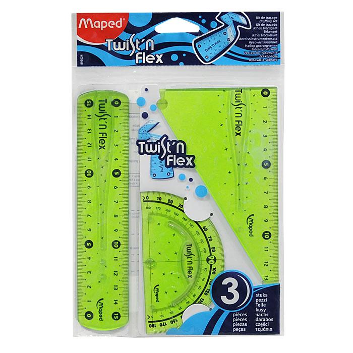 Геометрический набор Maped Twistn Flex, цвет: зеленый, 3 предмета8950240Геометрический набор Twistn Flex, выполненный из цветного прозрачного пластика, можно носить повсюду, не опасаясь сломать. Все чертежные инструменты сгибаются в любом направлении, после непродолжительного времени принимают первоначальную форму и не деформируются. Состоит из трех предметов: линейки на 15 сантиметров, транспортира на 180 градусов и угольника. Угольник с углами 30, 60, 90 градусов и линейкой на 14 сантиметров.Разметка шкалы нанесена на внутреннюю поверхность чертежных принадлежностей, что предотвращает ее истирание. Легко читаемая двусторонняя шкала - выделены каждые 5 см. Несмазывающиеся кромки предотвращают размазывание ручек и карандашей в процессе работы. Характеристики: Размер упаковки: 14,5 см х 22,5 см.Изготовитель: Китай. Линейка, угольник, транспортир