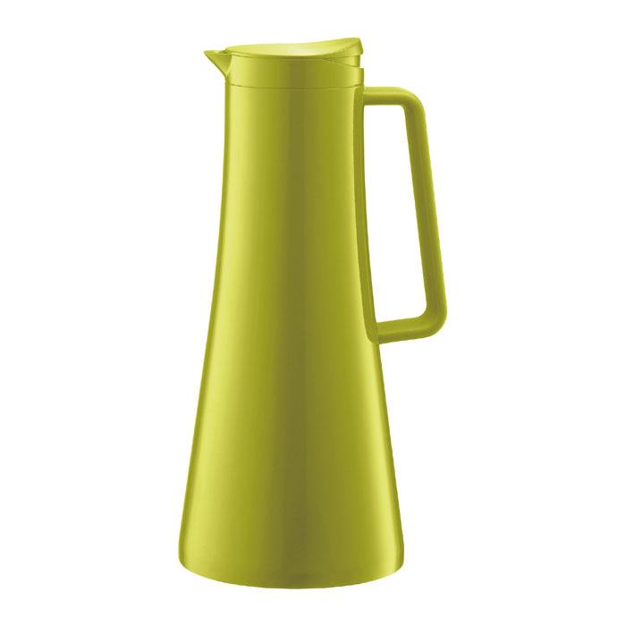 Термографин Bodum Bistro 1,1л, цвет: лимонный 11189-11189-Термокувшин Bistro обладает всеми преимуществами кувшинов, сохраняющих температуру напитков. Но при этом у него есть и свой собственный плюс – он может стать настоящим украшением любой кухни. Выполненный из нержавеющей стали, силикона и пластика кувшин Bistro выглядит современно. Удобную крышку кувшина легко открыть с помощью простого нажатия, а закрывается она автоматически, создавая условия абсолютной герметичности. Выберите свой Bistro из кувшинов четырех различных расцветок. Характеристики: Материал:пластик, силикон, нержавеющая сталь. Объем: 1,1 л. Высота:29 см. Диаметр основания:13 см. Цвет: лимонный. Размер упаковки:14,5 см х 30 см х 14,5 см. Производитель: Швейцария. Артикул: 11189-.