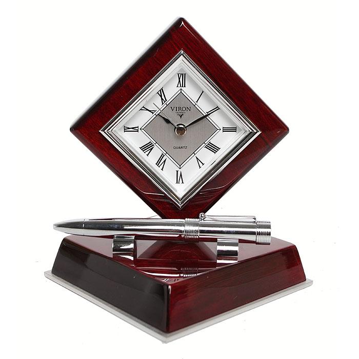 Настольный подарочный набор Viron. Часы, ручка подарочный набор сомелье viron 57651