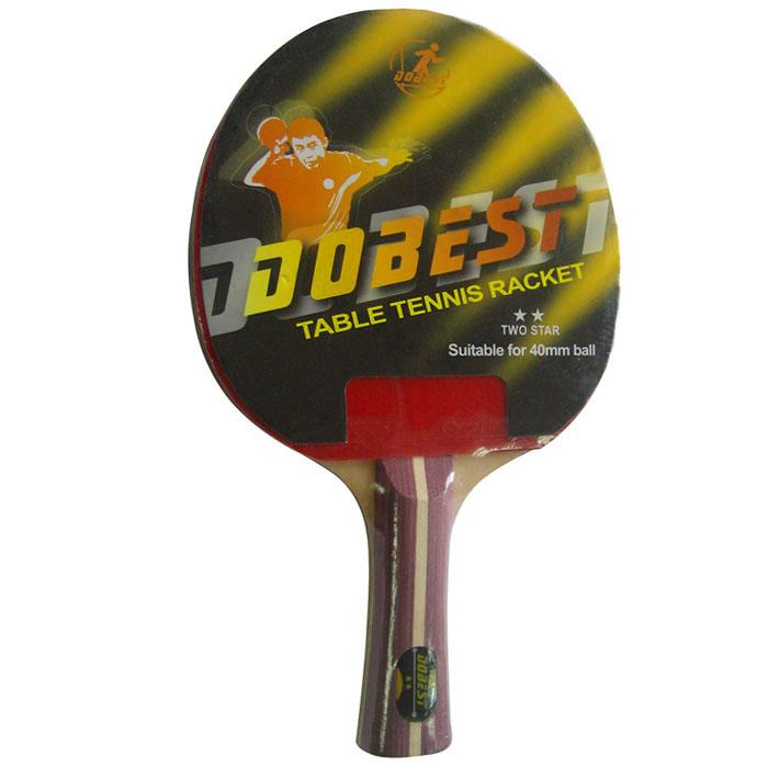 Ракетка для настольного тенниса Dobest. 2 StarBR01/2Ракетка Dobest предназначена для игры в настольный теннис для любителей и игроков начального уровня. Ракетка выполнена из дерева, накладка из резины.Основные характеристики: Контроль: 7. Скорость: 8. Кручение: 6.Характеристики:Материал: дерево, резина.Размер ракетки: 26 см х 15 см.Длина ручки: 10 см.Артикул: BR01/2.Производитель: Китай.