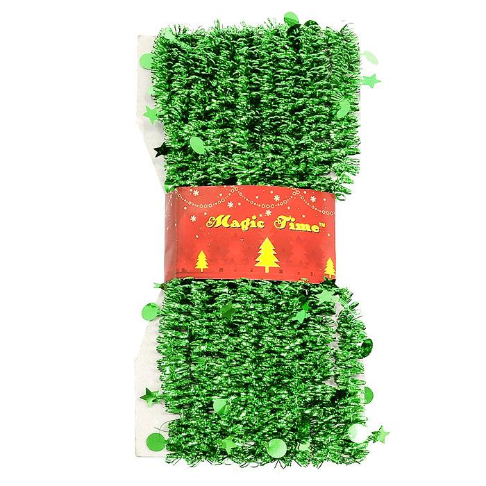 Новогодняя мишура Magic Time, цвет: зеленый, 500 см. 2047220472Новогодняя мишура поможет вам украсить свой дом к предстоящим праздникам. А новогодняя елка станет наряднее.Коллекция декоративных украшений из серии Magic Time принесет в ваш дом ни с чем не сравнимое ощущение волшебства!Новогодние украшения всегда несут в себе волшебство и красоту праздника. Создайте в своем доме атмосферу тепла, веселья и радости, украшая его всей семьей.Характеристики:Материал:ПВХ. Длина:500 см. Изготовитель:Китай. Артикул: 20472.