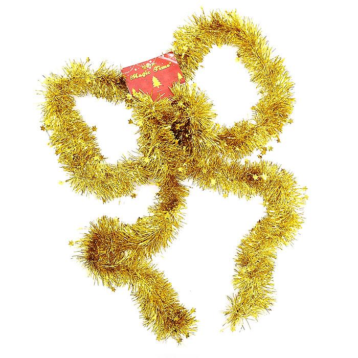Новогодняя мишура Magic Time, цвет: золотой, 270 см. 2044420444Новогодняя мишура поможет вам украсить свой дом к предстоящим праздникам. А новогодняя елка станет наряднее.Коллекция декоративных украшений из серии Magic Time принесет в ваш дом ни с чем не сравнимое ощущение волшебства!Новогодние украшения всегда несут в себе волшебство и красоту праздника. Создайте в своем доме атмосферу тепла, веселья и радости, украшая его всей семьей. Характеристики:Материал:ПВХ. Длина:270 см. Изготовитель:Китай. Артикул: 20444.