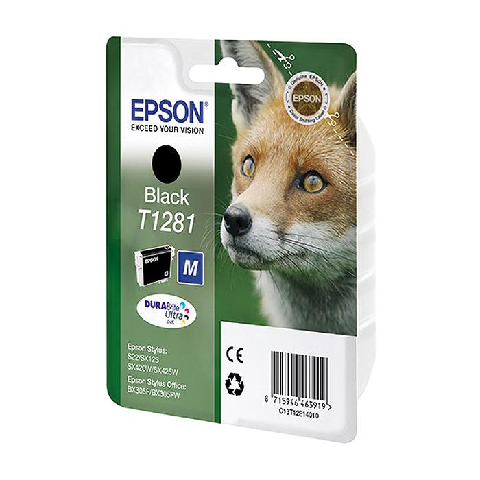 Epson T1281 (C13T12814012), Black картридж для S22/SX125/SX425/BX305 for epson t1281 t1282 t1283 t1284 refillable ink cartridge for epson stylus s22 sx125 sx130 sx235w sx425w sx435w printer part