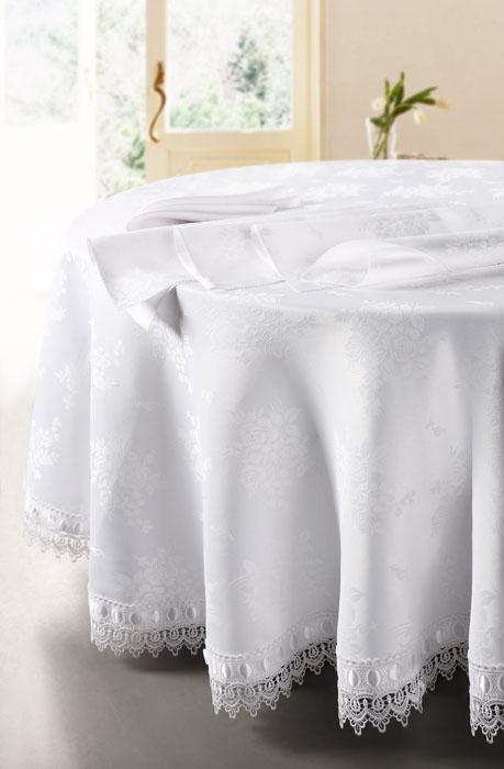 Комплект столовый SL, цвет: белый, 5 предметов. 0845908459Роскошный столовый комплект Soft Line, выполненный из ацетатного шелк-жаккарда, состоит из круглой скатерти белого цвета и 4 квадратных салфеток. Края скатерти отделаны восхитительными кружевами и атласной лентой. Комплект упакован в подарочную коробку.Использование такого набора сделает застолье более торжественным, поднимет настроение гостей и приятно удивит их вашим изысканным вкусом. Вы можете использовать этот комплект для повседневной трапезы, превратив каждый прием пищи в волшебный праздник и веселье. Характеристики: Материал: 100% полиэстер (ацетатный шелк-жаккард). Цвет: белый. Производитель: Китай. Артикул: 08459. В комплект входят: Скатерть - 1 шт. Диаметр: 180 см. Салфетка - 4 шт. Размер:40 см х 40 см. Soft Line предлагает широкий ассортимент высококачественного домашнего текстиля разных направлений и стилей. Это и постельное белье из тканей различных фактур и орнаментов, а также мягкие теплые пледы, красивые покрывала, воздушные банные халаты, текстиль для гостиниц и домов отдыха, практичные наматрасники, изысканные шторы, полотенца и разнообразное столовое белье.Soft Line - это ваш путеводитель по мягкому миру текстиля, полному удивительных достопримечательностей. Постельное белье марки Soft Line подарит вам радость и комфорт!