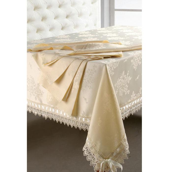 Комплект столовый SL, цвет: бежевый, 7 предметов. 0846108461Роскошный столовый комплект SL, выполненный из ацетатного шелка с жаккардовым рисунком, состоит из прямоугольной скатерти и шести квадратных салфеток с фигурными краями. Края скатерти декорированы изящным кружевом и лентой. Использование такого комплекта сделает застолье более торжественным, поднимет настроение гостей и приятно удивит их вашим изысканным вкусом. Вы можете использовать этот комплект для повседневной трапезы, превратив каждый прием пищи в волшебный праздник и веселье.Жаккард - одна из дорогих тканей. Жаккардовые ткани очень прочны и долговечны, очень удобны в эксплуатации. Изготавливается жаккард благодаря особой технике плетения в основном из хлопчатобумажной, синтетической или смесовой пряжи. Своеобразный рельефный рисунок, который получается в результате сложного плетения на плотной ткани, напоминает своего рода гобелен. Комплект упакован в красивую подарочную коробку. Характеристики: Материал: жаккард (100% полиэстер). Размер упаковки: 50 см х 35 см х 5 см. Производитель: Китай. Артикул: 08461. В комплект входят: Скатерть - 1 шт. Размер: 180 см х 210 см. Салфетка - 6 шт. Размер:40 см х 40 см. Soft Line - мягкая эстетика для вас и вашего дома! Основанная в 1997 году, компания Soft Line является путеводителем по мягкому миру текстиля, полному удивительных достопримечательностей!Высочайшее качество тканей в сочетании с эксклюзивным дизайном и изысканными отделками неизменно привлекают как требовательно покупателя, так и взысканного профессионала!Компания Soft Line предлагает широчайший ассортимент высококачественной продукции разных стилей и направлений. Это и постельное белье из тканей различных фактур и орнаментов, а также уютные пледы, покрывала, стильные пляжные наборы, очаровательные комплекты для маленьких эстетов, воздушные банные халаты для их родителей, текстиль для гостиниц и домов отдыха, удобные матрасы и практичные наматрасники, изысканные шторы и разнообразное столовое белье.