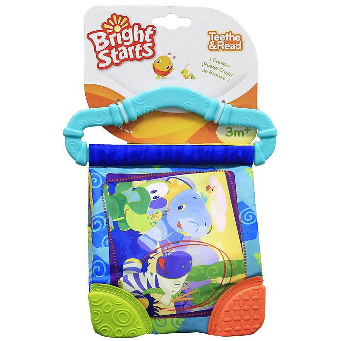 Bright Starts развивающая книжка Веселые зверюшки с прорезывателем, цвет: голубой bright starts веселые зверюшки красная bright starts