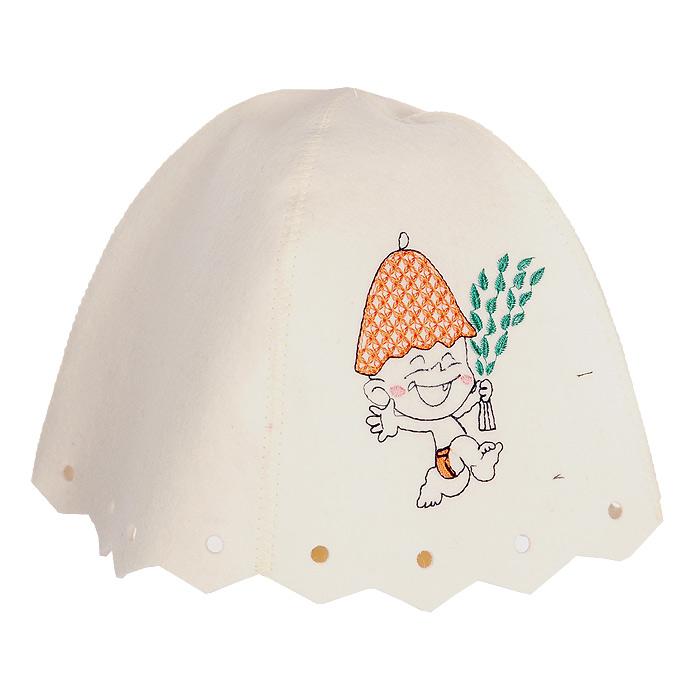 Шапка детская для бани и сауны Невский банщик Юный банщик, цвет: белыйБ45011Шапка для бани и сауны Невский банщик Юный банщик, изготовленная из натурального белого фетра, станет незаменимым аксессуаром, чтобы защитить вашего ребенка от появления головокружения в бане и голову от перегрева. Шапка оформлена оригинальной вышивкой в виде веселого карапуза.С помощью специальной петельки шапку удобно вешать на крючок в предбаннике. Такая шапка станет отличным подарком для любителей отдыха в бане или сауне. Высота шапки: 20 см, Диаметр основания шапки: 30 см.