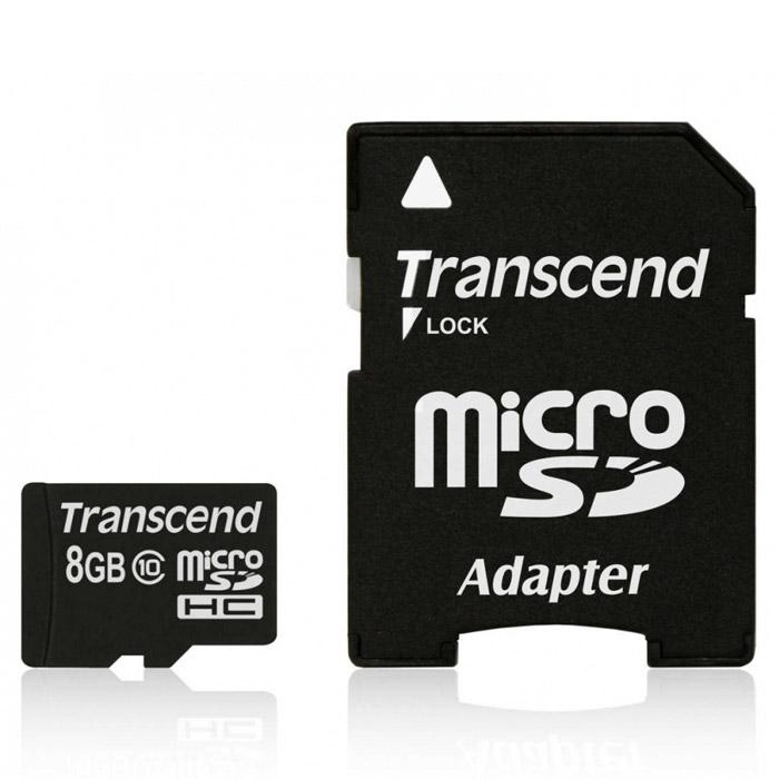 Transcend microSDHC Class 10 8GB карта памяти + адаптерTS8GUSDHC10Карта памяти Transcend microSDHC Class 10 обладает отличными рабочими характеристиками при размере всего лишь 1/10 от размера SD карты. Продукт отличает необычайная скорость класса 10, представленная Ассоциацией SD карт в качестве новых характеристик SD 3.0, скорость записи 10 MБ/сек. гарантирована. Карта памяти microSDHC класса 10 с высокими скоростными характеристиками, большим размером памяти до 32 ГБ при минимальном размере особенно рекомендована для использования в современных мобильных устройствах.Все microSDHC карты прошли строгие тестирования на совместимость и надежность, и имеют ограниченную гарантию от компании Transcend. Каждая карта снабжена встроенным ECC (корректирующим кодом), который отвечает за автоматические обнаружение и устранение ошибок в процессе передачи данных.Внимание: перед оформлением заказа убедитесь в поддержке вашим электронным устройством карт памяти данного объема.