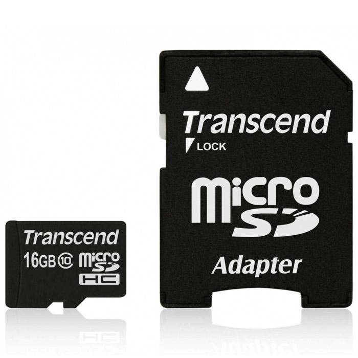 Transcend microSDHC Class 10 16GB карта памяти + адаптер