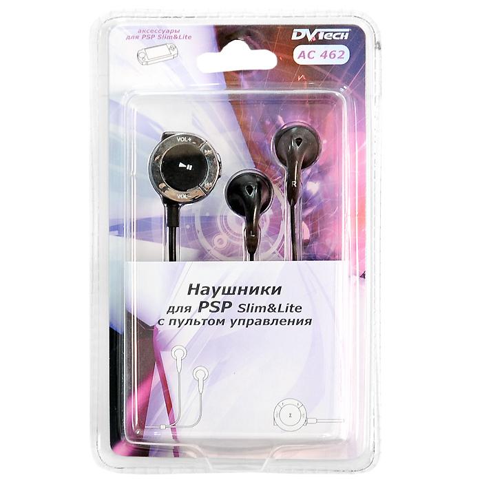 Наушники для PSP Slim DVTech AC 462 с пультом управления (цвет: черный)