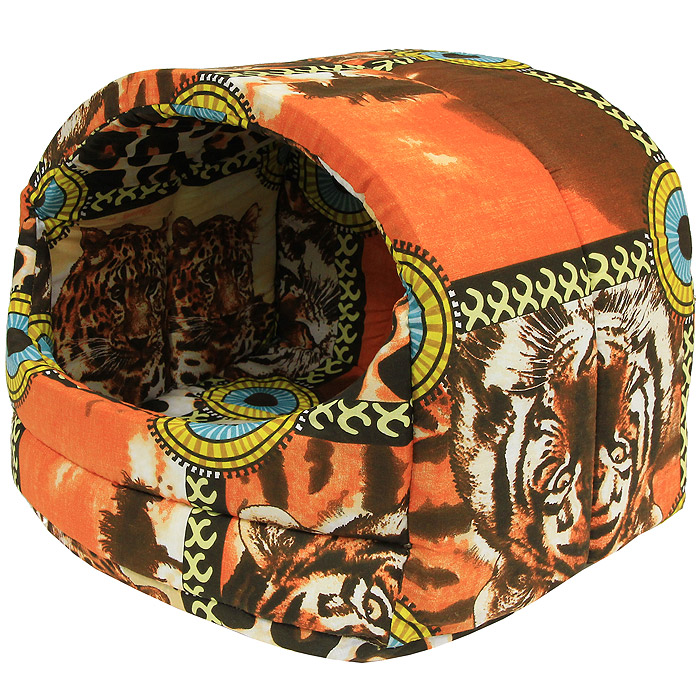 Домик для животных Пушок Округлый, цвет: оранжевый, 50 см х 34 см х 38 см4640000930141Домик Пушок Округлый непременно станет любимым местом отдыха вашего домашнего животного. Чехол домика выполнен из натурального хлопка, а наполнитель - из синтепона. В таком домике вашему любимцу будет мягко и тепло. Он даст вашему питомцу ощущение уюта и уединенности, а также возможность спрятаться.