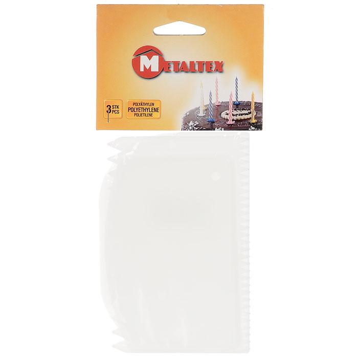 Набор лопаток Metaltex, 3 шт25.25.21Набор лопаток METALTEX 25.25.21 - просто незаменимая вещь на кухне любой современной хозяйки. С нимприготовление и употребление пищи переходит на качественно новый уровень. Приятно готовить, вкусно есть,легко мыть!Лопатки изготовлены из пластика, это служит залогом длительной службы изделия.