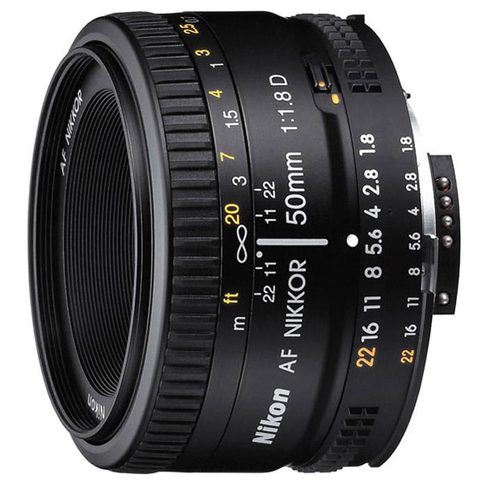 Nikon AF Nikkor 50mm f/1.8DJAA013DAКомпактный, доступный объектив Nikon AF Nikkor 50mm f/1.8D обладает хорошим управлением глубиной резкости - диафрагма закрывается до f/22. Идеален для макросъемки с использованием удлинительных колец. Линзы объектива имеют многослойное просветляющее покрытие Nikon SIC, которое обеспечивает исключительную производительность.