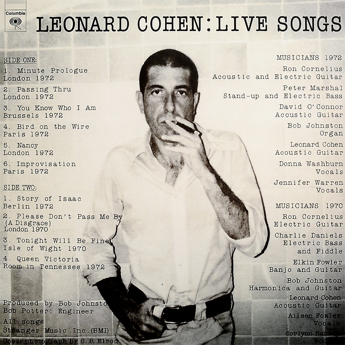 Леонард Коэн Leonard Cohen. Live Songs (LP) леонард коэн leonard cohen songs of leonard cohen lp