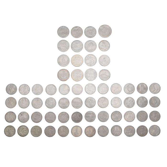 Комплект из 64 юбилейных монет СССР. Медно-никелевый сплав. СССР, 1965-1991 гг., Гознак