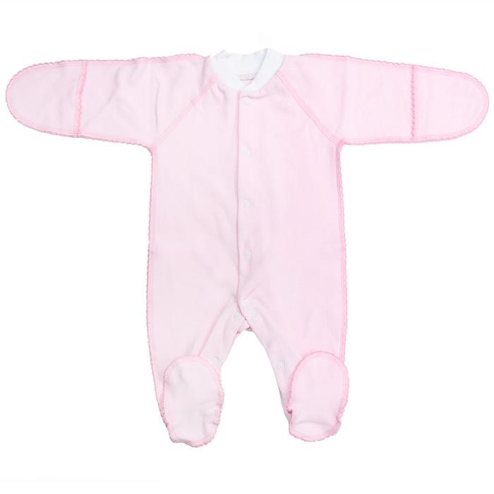 Комбинезон детский Фреш Стайл, цвет: розовый. 37-523. Размер 62, от 0 до 3 месяцев37-523Детский комбинезон Фреш Стайл станет идеальным дополнением к гардеробу вашего ребенка. Выполненный из натурального хлопка, он необычайно мягкий и приятный на ощупь, не раздражают нежную кожу ребенка и хорошо вентилируется. Комбинезон с длинными рукавами-реглан, закрытыми ножками и небольшим воротником-стойкой застегиваются спереди на кнопки по всей длине и на ластовице, что облегчает переодевание ребенка и смену подгузника. Горловина дополнена трикотажной эластичной резинкой. Благодаря рукавичкам ребенок не поцарапает себя. Швы выполнены наружу и оформлены ажурными петельками.В таком комбинезоне ваш малыш будет чувствовать себя комфортно и уютно!