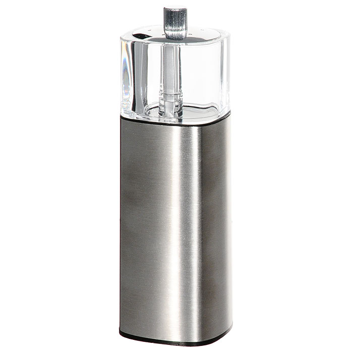 Мельница для специй Borner 912816912816Мельница для перца Borner с солонкой, изготовленная из пластика и металла, легка в использовании. Стоит только покрутить верхнюю часть мельницы, и вы с легкостью сможете поперчить по своему вкусу любое блюдо. Механизм мельницы изготовлен из керамики. Оригинальная мельница модного дизайна будет отлично смотреться на вашей кухне.Характеристики: Материал: пластик, металл, керамика. Высота: 15,5 см. Размер основания: 4,7 см х 4,7 см. Размер упаковки:15,5 см х 5 см х 5 см. Производитель:Германия. Изготовитель:Россия.