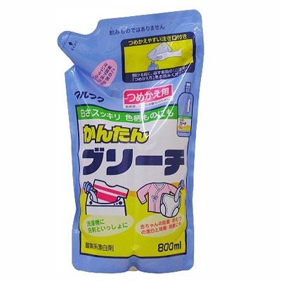 Отбеливатель для одежды, сменная упаковка, 800 мл300407Отбеливатель для одежды эффективно выводит пятна, убирает желтизну. А также отбеливает пятна от кофе, черного чая, фруктового сока, приправ. Применяется для отбеливания воротничков, манжет, носков. Характеристики:Объем: 800 мл. Производитель: Япония.