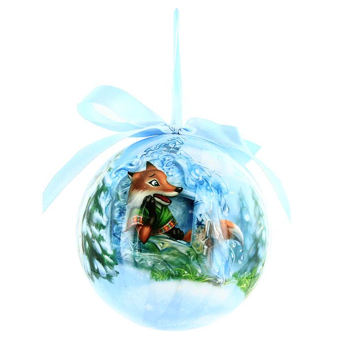 Шар новогодний Лиса и заяц, диаметр 10 см020205Новогоднее подвесное украшение Лиса и заяц отлично подойдет для декорации вашего дома и новогодней ели. Украшение изготовлено из ПВХ и выполнено в виде елочного шара, оформленного изображением по мотивам сказки Заяц и Лисица. Благодаря атласной ленточке, украшение можно повесить в любом месте. Оригинальный дизайн и красочное исполнение создадут праздничное настроение. Подвесное украшение упаковано в стильную подарочную коробку.