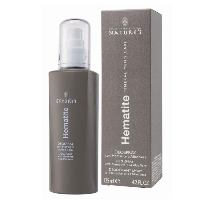 Дезодорант Natures Hematite, 125 мл60260901Дезодорант Natures Hematite нейтрализует неприятный запах. Содержание микроталька обеспечивает сухость подмышечных впадин, позволяя коже дышать.Бодрящий аромат дает ощущение свежести, алое вера и витамин Е оставляют кожу мягкой без раздражения.Не содержит спирт. Подходит для чувствительной кожи. Не оставляет пятен на одежде. Характеристики:Объем: 125 мл.Производитель: Италия.Артикул: 60260901.Товар сертифицирован.