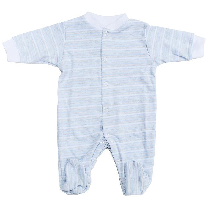 Комбинезон детский Фреш Стайл, цвет: голубой, светло-серый, белый. 39-526. Размер 74, 9 месяцев39-526Детский комбинезон Фреш Стайл станет идеальным дополнением к гардеробу вашего ребенка. Изготовленный из натурального хлопка - интерлок-пенье, он необычайно мягкий и приятный на ощупь, не раздражает нежную кожу ребенка и хорошо вентилируется. Комбинезон с длинными рукавами, закрытыми ножками и небольшим воротником-стойкой застегиваются спереди на металлические кнопки по всей длине и на ластовице, что облегчает переодевание ребенка и смену подгузника. Горловина и манжеты дополнены трикотажной эластичной резинкой. Оформлен комбинезон принтом в полоску.Оригинальное сочетание тканей и забавный рисунок делают этот предмет детской одежды оригинальным и стильным.